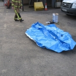 Unfolded Aqua-sac® inflation tank waiting to be inflated