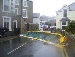 Alteau floor barrier in action blocking a road